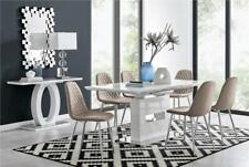 Arezzo White High Gloss Extending Dining Table and 6 8 Modern Chairs Set
