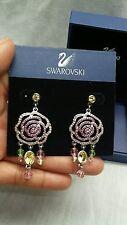 Beautiful signed swan swarovski crystal Disney roses silver tone earrings