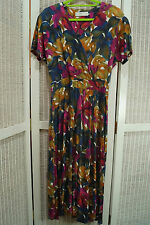 ST. MICHAEL Vintage Wrap-Style Midi Dress UK14/EU42 Tall Floral Marks & Spencer
