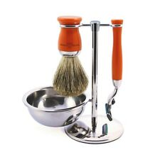 Edwin Jagger, Mach3 Razor, Brush, Stand & Soap Bowl, Orange  Chrome Plated Set