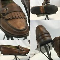 Cole Haan Loafers Shoes Sz 10.5 D Brown Leather Kiltie Tassels Made USA YGI E8