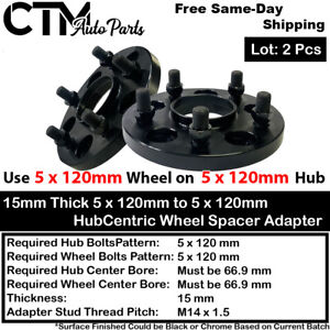 2P 15MM THICK 5X120 66.9 HUBCENTRIC WHEEL SPACER ADAPTER FIT CHEVY CADILLAC MORE