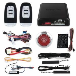 keyless entry PKE car alarm kit remote auto start Red button start central lock