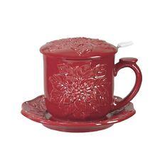 "Andrea SADEK Ceramic 4.25"" Covered Red Poinsettia Holiday Tea Mug #20439 NIB"