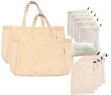 Reusable Eco Friendly Shopping Bags & Produce Bag Set | 12 Piece Organic Cotton