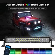 "22"" 280W LED Light Bar Flood Spot Multi Color RGB Bluetooth Offroad SUV ATV 20"""