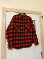 "Vintage Men's Size Small L.L.Bean Buffalo Plaid Red Black Wool Shirt 36"" Chest"