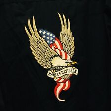 Harley Davidson Motorcycle Mens Embroidered Eagle Black LS Shirt Size Large