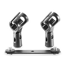 Neewer Stereo Microphone Steel Mount Bracket Bar with Dual Mic Clip Holders
