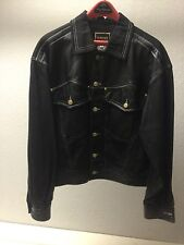 Vintage 1990s Authentic Gianni Versace M Black Leather & Denim Motorcycle