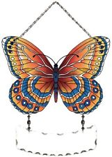 Joan Baker Designs Handpainted Suncatcher-SFS2007-Orange/Blue ButterflyArt Glass