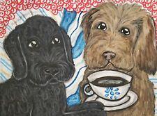 Labradoodle Drinking Coffee 13x19 Art Print Artist KSams Dog Collectible Vintage