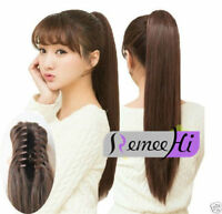Straight Claw Jaw Clip on Ponytail one Hair piece 100% Human Remy Hair Extension