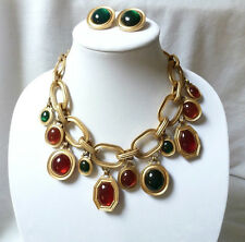 VINTAGE YSL Yves Saint Laurent REVERSIBLE gripoix NECKLACE w/ EARRINGS NUMBERED