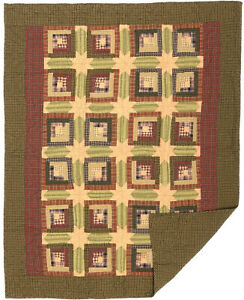 Primitive Folk Art Quilted Patchwork TEA CABIN NWT, Red  Quilt Throw Blanket