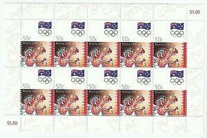 2008 AUSTRALIA 'BEIJING OLYMPICS 2008' - MINI SHEET of 10 x 50c MNH STAMPS