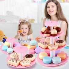 Kids Food Pretend Play Toy Set Sweet Treats Colorful Cake Cookies Dessert Tower