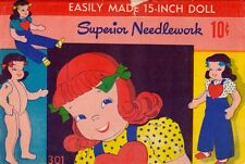 Vintage Doll Pattern Superior 301 Rag Stuffed Clothes Transfer - Uncut Original
