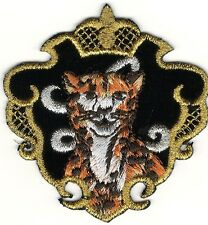 Safari Cheetah in Gold Black Shield Crest Portrait Embroidery Patch