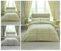 Hartley Check Modern Duvet Quilt Cover &Pillow Case Bedding Set Double King Size