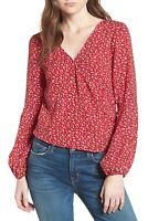 Leith Surplice Long Sleeve Blouse Women's Sz. S (Red) 152547