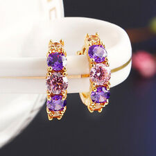 New Style Gold Huggie Hoop Earrings Multi Colour Gemstone 15x13mm