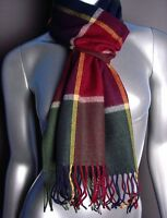 NEW SOFT WARM Multicolor Red Gray Plaid CASHMERE TOUCH 100% Acrylic Scarf