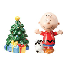Peanuts Charlie Bown and Snoopy Christmas Tree Ceramic Salt and Pepper Set, New