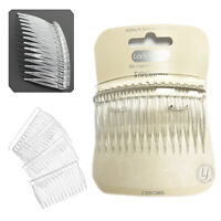 2 Side Comb Hair Clear Curved Wide Tooth Clamp Grip Bridal Style Combs Plastic