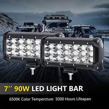2x 7inch 90w Spot Beam CREE Triple Rows LED Work Lights Bar Offroad Car ATV 60W