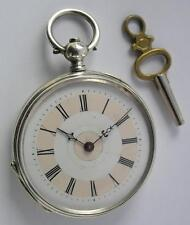 GOOD ANTIQUE KEY WIND OPEN FACE SILVER POCKET WATCH SWISS MADE 1880's