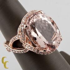 14k Rose Gold Diamond & Oval Cut Tourmaline Cocktail Ring Size 7 Hallmark TAL