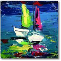 Abstrakte Kunst Moderne Malerei Unikat Schiff Yacht Gemälde Meer Wandbild Nr1035