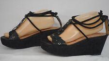 Corso Como Black Leather Ankle Tie Cork Platform Wedge Sandal Women Size 9 M