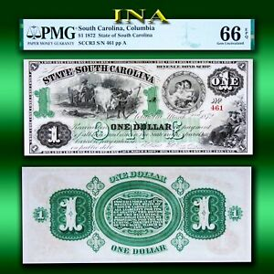 State of South Carolina 1872 $1 Currency Gem Unc PMG 66 EPQ Perfect Margins