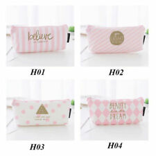 Pink Pencil Case Pen Box School Stationery Cosmetic Makeup Pouch Zipper Bag