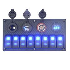 12/24V 8Gang LED illuminated Switch Panel Breaker Boat RV Car Rocker Voltmeter