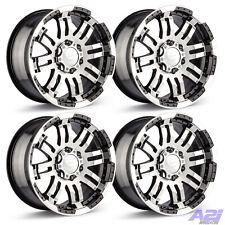 "4 17"" 6 Lug Vision Warrior Wheels Black/Machined Fits Chevy GMC Trucks 6x5.5"