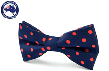 Men's Bow Tie Navy Blue Red Polka Dots Bowtie Dotted Formal Bow Ties for Men