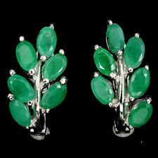 Ohrringe Smaragd 925 Silber 585 Weißgold vergoldet