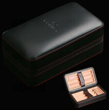 COHIBA Travel Cigar Humidor Leather Case Cedar Wood Lined Holds 6 Cigars