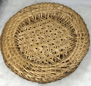 Lot Of 6 Rattan Wicker Charger Plate Holders Round Brown Woven Placemats Set
