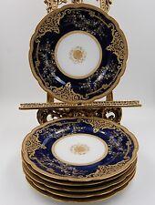 EXQUISITE LIMOGES HAVILAND COBALT GOLD ENCRUSTED & JEWELS  PLATE SET OF 6