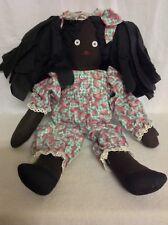 "Vintage Black Americana Folk Art 22"" Cloth Rag Doll Handmade w/ Watermelon suit"