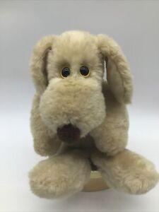 """Vintage 1980 Le Mutt Francesca Hoerlein Plush Dog Yellow Eyes 14"""" Fluffy Clean"""