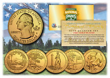 2013 America The Beautiful 24K GOLD PLATED Quarters Parks 5-Coin Set w/Capsules