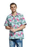 Hawaii Hangover Men's Hawaiian Shirt Aloha Shirt Flamingo In Love White
