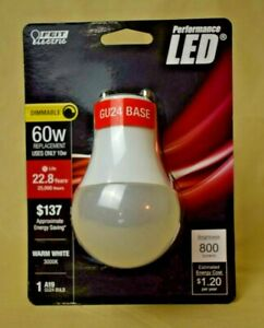 Feit Electric - Dimmable LED A19 60W Replacement - GU24 Base (800 Lumens) - New
