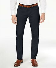 $125 New Calvin Klein Men'S Size 36w 34l Blue Sateen Slim Fit Casual Dress Pants