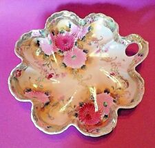 Nippon Large Handled Bowl - Hand Painted Mums With Raised Gold Moriage Beading